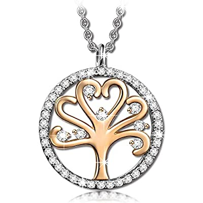 "Pauline & Morgen ""Tree of Life"" Rose/White Gold Plated Crystal Women Necklace - Symbolizing energy and health, it makes a beautiful good luck talisman or a meaningful gift for someone special"