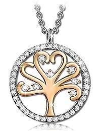 Kami Idea Baum des Lebens Damen Kette Runde Form Anhänger, Kommt in Eleganten Geschenk-Box, Nickel-Freie Bestanden SGS Test