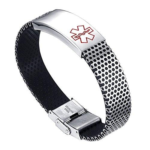 Flongo id bracciale di identificazione medica croce rossa, grande bracciale in silicone acciaio inossidabile simbolo allarme medico per allergie, bracciale placcato in argento