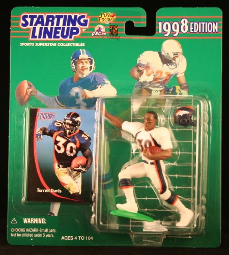 TERRELL DAVIS / DENVER BRONCOS 1998 NFL Starting Lineup Action Figure & Exclusive NFL Collector Trading Card Broncos Football Cards