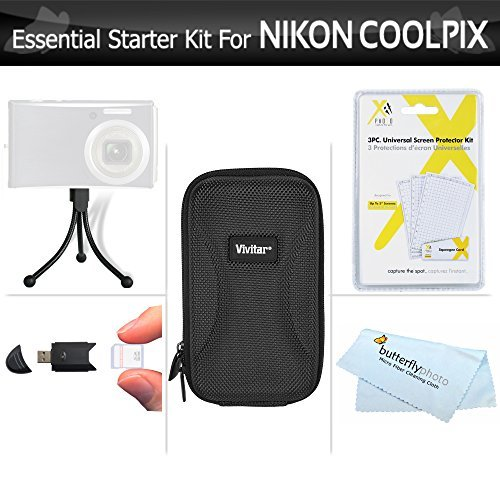 Essential Starter Accessory Kit For Nikon COOLPIX S3700 S2900 S33 S7000 S6900 S3500 S6400 S3100 S4100 S100 Digital Camera Includes Hard Case + USB High Speed Card Reader + LCD Screen Protectors + Mini Tabletop Tripod + MicroFiber Cleaning Cloth  available at amazon for Rs.2685