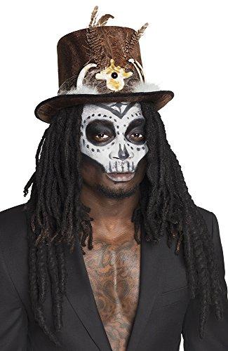 B72183 schwarz Damen Herren Voodoo Hut Steampunk Zylinder mit Knochen und Haare