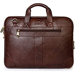 The Clownfish 15.6 inch Synthetic Leather Laptop & Tablet Bag (Brown)