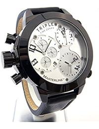 Reloj Masterline1966 XXL 52 mm triple time Chrono-imitación piel ML06166002