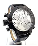 Masterline1966 XXL Orologio da uomo 52 mm Triple Time Chrono-colore Nero in pelle ML06166002