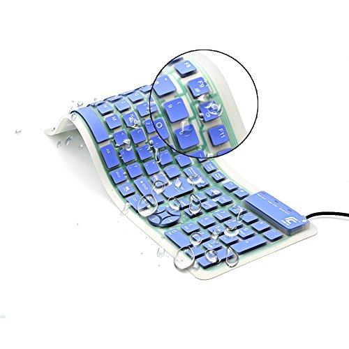 CHINFAI tragbare verdrahtete USB-Tastatur-faltbares Silikon-numerische waschbare Tastatur weiches wasserdichtes Rollen oben ultra-dünnes für iPad Laptop-PC Mobile Geräte (Blau)