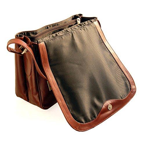 b6c8767b654e0 ... Braun Damen Handtasche Größe M   Umhängetasche im Retro-Look aus Büffel- Leder