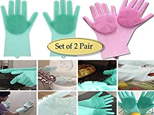 PACC MAN Magic Silicone Heat Resistant Gloves with Wash Reusable Brush Kitchen Tool (Standard, Multicolour) -1 Pair
