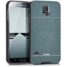 kwmobile Funda rígida de alta calidad para Samsung Galaxy S5 / S5 Neo / S5 LTE+ / S5 Duos con refuerzo de aluminio pulido en la parte trasera en antracita