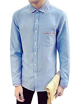 BOZEVON Nueva camisa de la manga de la solapa de los nuevos hombres para las ocasiones ocasionales del negocio...