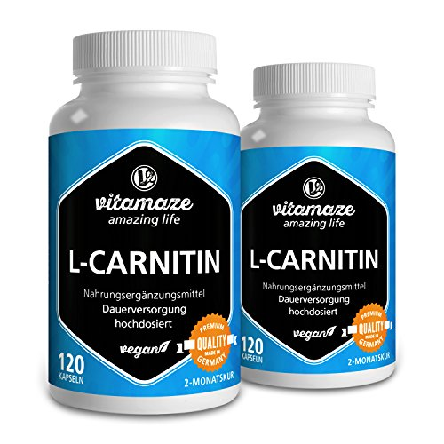 L-Carnitin 680 mg rein pro Tag Fatburner VEGAN 2x120 Kapseln für je 2 Monate Qualitätsprodukt-Made-in-Germany ohne Trennmittel Magnesiumstearat, 30 Tage kostenlose Rücknahme!