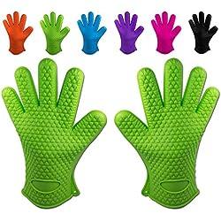 Belmalia 2 guantes de silicona para cocina y parrilla, juego, par, agarradores de cocina, guantes de horno Verdor