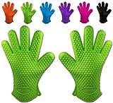 Belmalia 2 guanti da forno in silicone per cucina e griglia, kit, coppia, presine, guanti da forno Verde