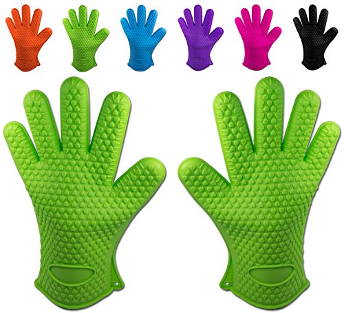 Belmalia Handschuhe, 2X Silikon Backhandschuhe, Grün, 27.517.52.2cm
