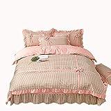 Unbekannt Mali Prinzessin Stil Gestrickte Baumwolle Bettbezug Bogen Gitter Streifen Blätter Bettwäsche 4-Teiliges Set Bettbezug * 1 + Bettwäsche * 1 + Kissenbezug * 2,8,L