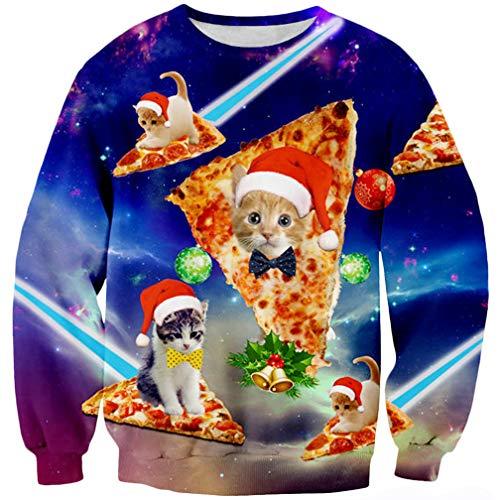 Goodstoworld Fun Christmas Pullover Cat Jungen Mädchen Männer 3D Druck Weihnachten Katze Weihnachtspullover Hemd Outfit XL