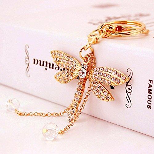 �nger Zubehör Ornament Eleganter Schlüsselanhänger Kristall Libelle Perle Anhänger Schlüsselanhänger Charm Ornament Handtasche Tasche Geschenk (Golden) ()