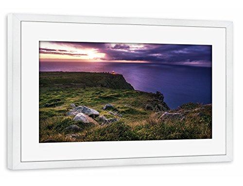 """Preisvergleich Produktbild artboxONE Poster mit Rahmen 75x50 cm """"Madeira - Ponta do Pargo Leuchtturm"""" von Künstler Jean Claude Castor"""