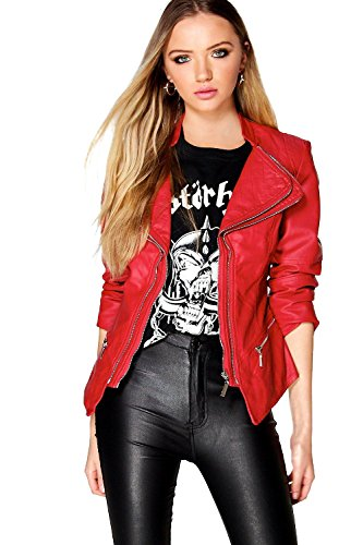 rouge Femmes Nancy Veste Biker Effet Cuir Rouge