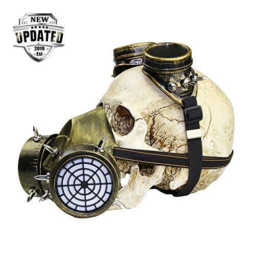 Nwlzx Halloween Retro Gotisch Steampunk Gang Maske Mode Unisex Cosplay Gesicht Maske,Gasbrille Skeleton Warrior Totenmaske Maskerade Weihnachten Anime Requisiten-A Gold (Tierische Halloween-kostüme 2019)
