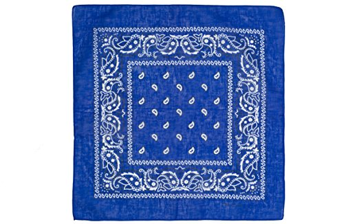 Shenky - Foulard/bandana - 100 % coton - motif paisley Bleu Roi