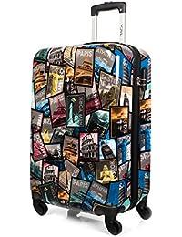 ITACA - I60250 Maleta trolley 50 cm cabina PC Policarbonato estampado. Equipaje de mano. Rígida y ligera. Mango telescópico, 2 asas 4 ruedas. Ideal vuelos low cost Ryanair Vueling