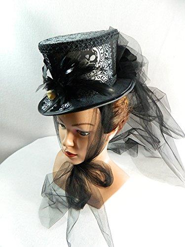 Mini Damen Zylinder Damenhut Fascinator schwarz (De Kostüm Eine Vampir Faire)
