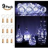 Opard Flaschenlicht 9x 20 LED Flaschen-Licht Lichterkette flaschenlichterkette korken LED Nacht Licht Weinflasche Hochzeit Party romantische Deko (kaltes weiß)