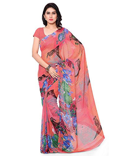 Surat Tex Pink Color Corsa Georgette Printed Casual Wear Saree with Blouse Piece-I642SESD-30  available at amazon for Rs.409