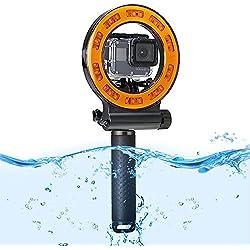 Orsda Plongée sous-Marine Light Jusqu'à 40M Etanche 30 LED Lampe de Conduite Lampe d'éclairage vidéo Haute Puissance pour GoPro Hero6 2018 Caméra de Sport 1000LM Canne de flottabilité 1500mAh
