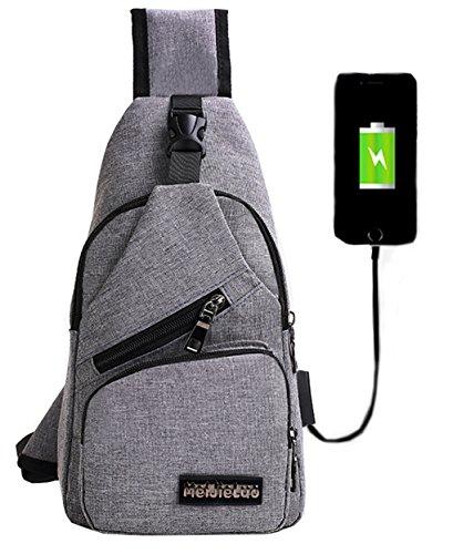lemongirl Sling Brust Tasche mit USB Ladekabel für Herren Damen, Unisex Schulter Umhängetasche Rucksack für Reisen Wandern Camping Radfahren Mini Adult Handtasche Rucksack One Size grau