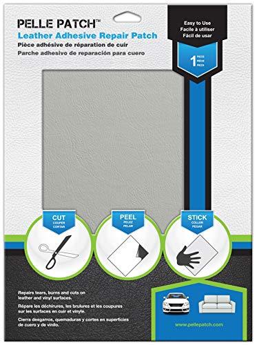 Pelle Patch Parche Adhesivo de reparación para Cuero y Vinilo (Gris Claro)