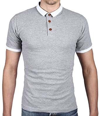 Polo Homme T-shirt Slim Fit Bleu Gris Noir (S, Gris)