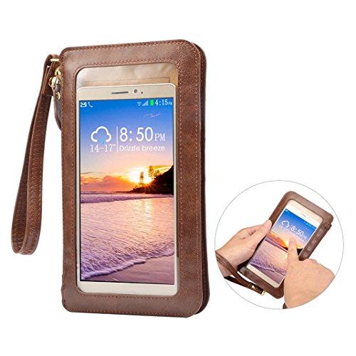 1 Arm Blättern (Touchscreen Handy Tasche Hülle bis 6.4 Zoll Display, Asnlove 2 in 1 PU Leder Multifunktionale Wallet Lang Handytasche Schultertasche mit Straps für iPhone/Samsung/Smartphone unter 6.4 Zoll, Coffe)