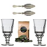 ALANDIA Original Absinth-Zubehör Set mit 2x Absinth-Gläsern/2x Absinth-Löffel/1x Absinth-Zuckerwürfel - Das Glas und Löffel Set enthält außerdem eine Trinkanleitung zum Absinth-Ritual