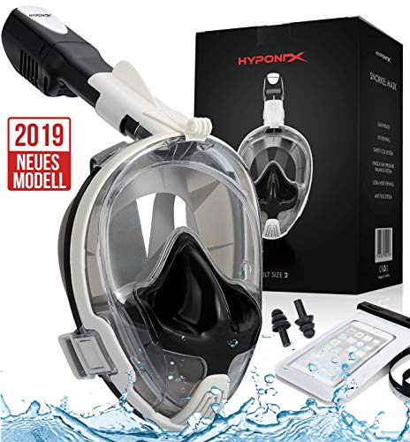 Hyponix Schnorchelmaske Vollmaske | Tauchermaske | Tauchmaske | Full Face Snorkel Mask mit sicherer Abfuhr von CO2, kompatibel mit GoPro Halter und Antibeschlag | Tragetasche, Ohrschutz u.v.m