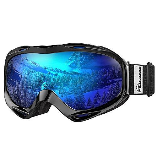 OutdoorMaster Premium Skibrille, Snowboardbrille Schneebrille OTG 100% UV-Schutz, helmkompatible Ski Goggles für Damen&Herren/Jungen&Mädchen(VLT 15.6% Graue Linse mit vollem REVO Blau)