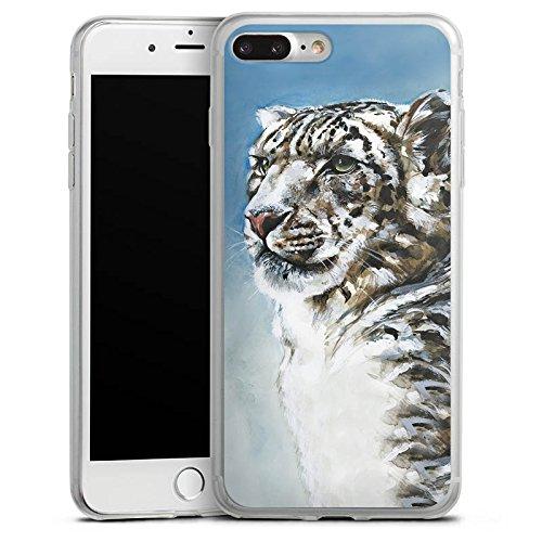 Apple iPhone 8 Slim Case Silikon Hülle Schutzhülle Schneeleopard Leopard Schnee Silikon Slim Case transparent
