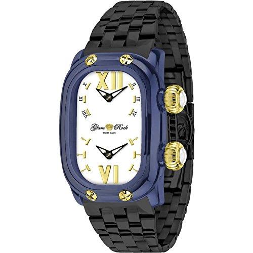 Glam Rock Women's Monogramme Black IP Steel Bracelet & Case Swiss Quartz White Dial Analog Watch GR72410N