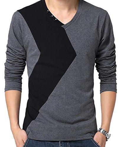 SMITHROAD Herren leicht Langarm Shirt Sweatshirt Tops Patchwork XS bis 3XL Grau