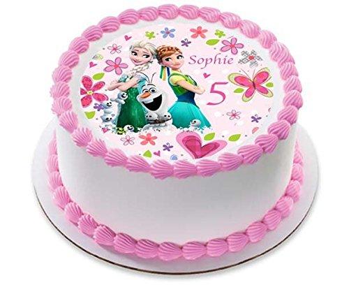 Disney Frozen Fever Elsa Anna Prinzessin Personalisierte Kuchen Topper Puderzucker Papier 19,1cm Bild