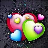 Riou DIY 5D Diamant Painting Voll,Stickerei Malerei Diamant Love Liebe Bild Muster Crystal Strass Stickerei Bilder Kunst Handwerk für Home Wand Decor Gemälde Kreuzstich (Mehrfarbig C, 30 * 30cm)