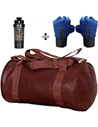 5 O' CLOCK SPORTS Gym Bag Combo Set Enclosed With Soft Leather Gym Bag For Men and Women For Fitness - Bag Size 49cm x 24cm x 24cm - Brown Color, Cyclone Shaker - Black Color and Leather Gym Gloves With Wrist Support- Blue Color ®
