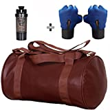 #9: 5 O' CLOCK SPORTS Gym Bag Combo Set Enclosed With Soft Leather Gym Bag For Men and Women For Fitness - Bag Size 49cm x 24cm x 24cm - Brown Color, Cyclone Shaker - Black Color and Leather Gym Gloves With Wrist Support- Blue Color ®