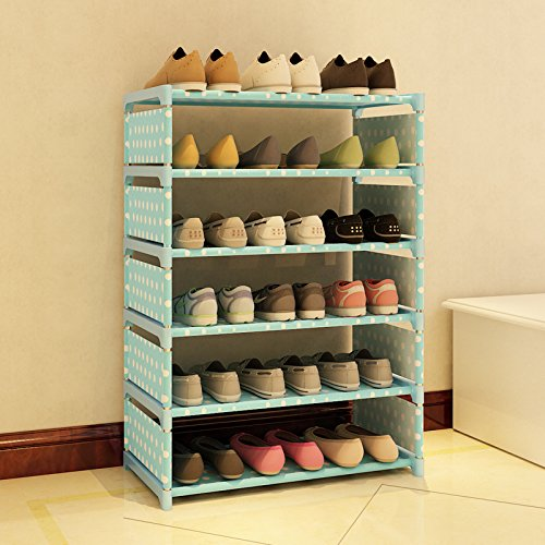 Qinqin666 Shoe Stand Storage Organiser Rack Lightweight Compact Blue 60x85x30cm