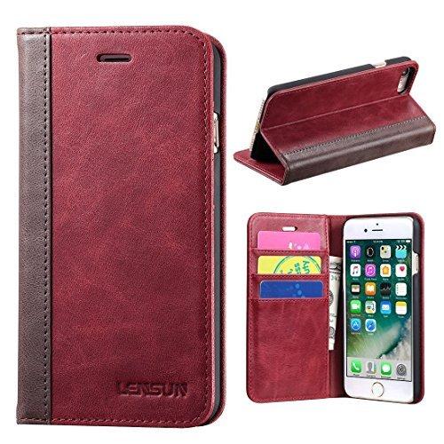 Lensun iPhone 8 Hülle iPhone 7 Hülle, Handyhülle Handytasche iPhone 8/7 (4.7 Zoll) Leder Huelle Tasche Flip Case Ledertasche Schutzhülle - Wein Rot