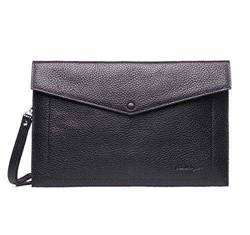 Real Leather Envelope Clutch Bags for Men Business Checkbook Handbag Credit Card Ipad Holder Large Zip Wristlet Purse Black Genuine Leather