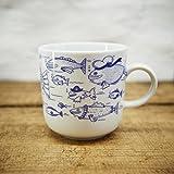 Kaffeebecher - 100% Handmade von Ahoi Marie - Motiv Fischschwarm - Maritime Porzellan-Tasse original...
