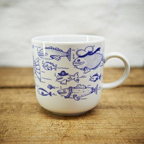 Kaffeebecher - 100% Handmade von Ahoi Marie - Motiv Fischschwarm - Maritime Porzellan-Tasse original aus dem Norden