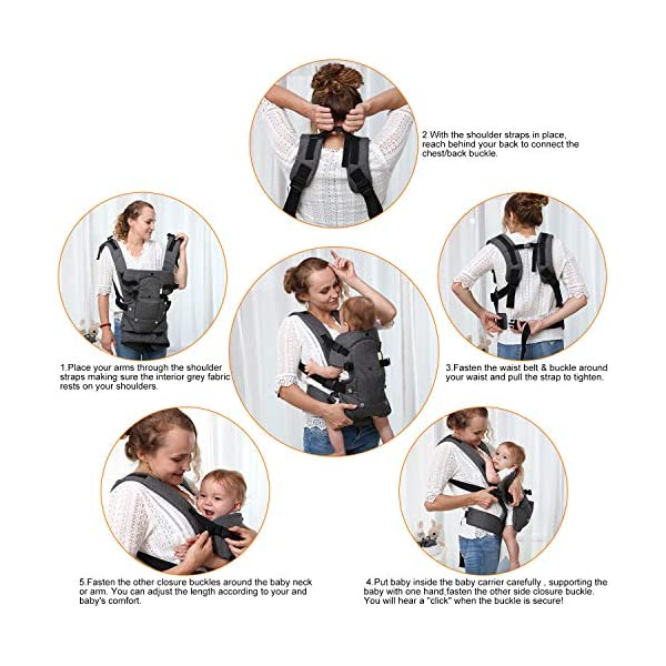 Xatan Baby Convertible Carrier, All Carry Position Newborn to Toddlers Ergonomic Carrier with Soft Breathable Air Mesh and All Adjustable Buckles Xatan ERGONOMIC CARRIER -- The premium quality baby carrier provides a convertible, ergonomic, facing-in/out,back carry etc different seat position, which offers the baby comprehensive care and support and also can help parents or carer free hands to do other work. PREMIUM QUALITY -- The Ergonomic Carrier is specialized customized with high quality and fine workmanship.Every details was revised repeatly! We are committes to offer the comfortable caring for your babies! COMFORTABLE HEAD/LEG SUPPORT -- The head and thigh support part can be adjusted according to the baby's body! The baby carrier will make sure the padded head support will hold small infants comfortably! 7